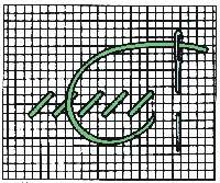 Gobelínový steh - půlkřížek